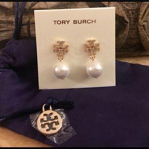 Tory Burch Pave Crystal Logo Pearl Drop Earrings